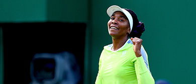 Venus Williams celebrates victory against Qiang Wang during day four of the Nature Valley Classic.