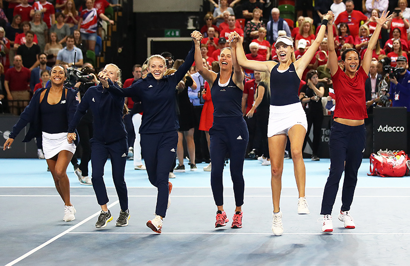 The GB Fed Cup Team celebrate