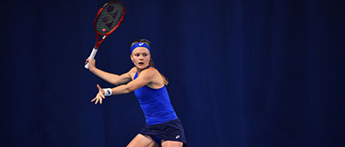 Harriet Dart plays a forehand during her match against Lapko at the Nottingham Open