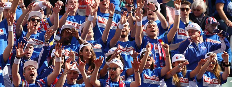 Fans cheer on Great Britain at the Davis Cup