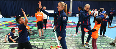 GB Fed Cup team visit a SERVES Festival