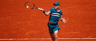 Kyle Edmund in action during the 2018 French Open