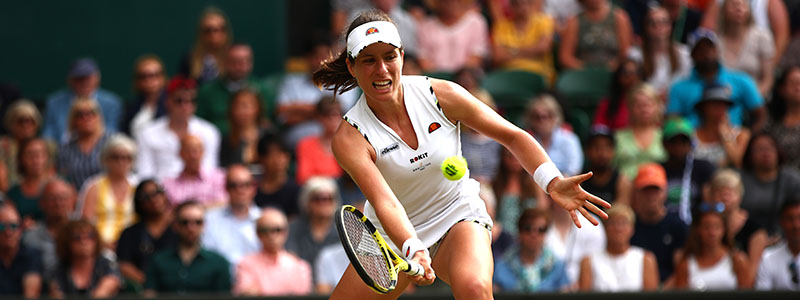 Johanna Konta plays a forehand during Day 7 of the Wimbledon Championships